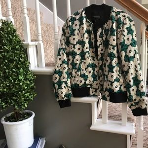 Floral Green and Black Who What Wear bomber jacket